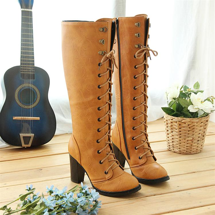 ФОТО 2015 women winter boots rivets cross straps Strappy high boots thick boots plus size 42 43 warm high heel small yards 30 31 32