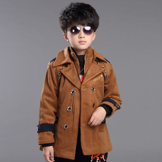 Casual long style Double-layer winter kids children frock coat boys brown double breasted wool trench coat polerones children