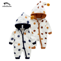 Newborn Baby Romper Kid Jumpsuit Hooded Infant Outfit Clothes Long sleeve Polka Dot Rompers Overalls of Toddler body suit 2019