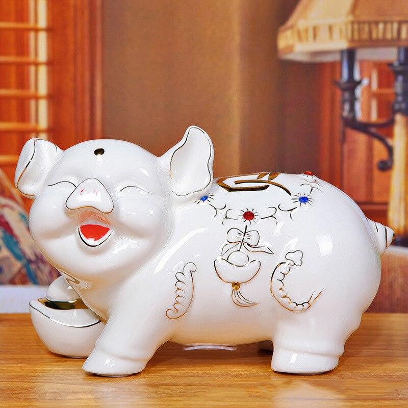 Feng Shui Porc Figurine Tirelire En Céramique Ornements De Pâques Jour Cadeaux Ménage Salon Artisanat Statue Décoration de La Maison