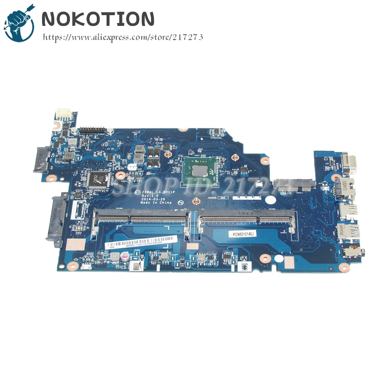 NOKOTION Z5WAL LA-B211P NBMPL11001 NB.MPL11.001 Laptop Motherboard For Acer aspire E5-511 Main Board SR1W3 N2930 DDR3L nokotion for acer aspire 5750 laptop motherboard p5we0 la 6901p mainboard mbrcg02005 mb rcg02 005 mother board