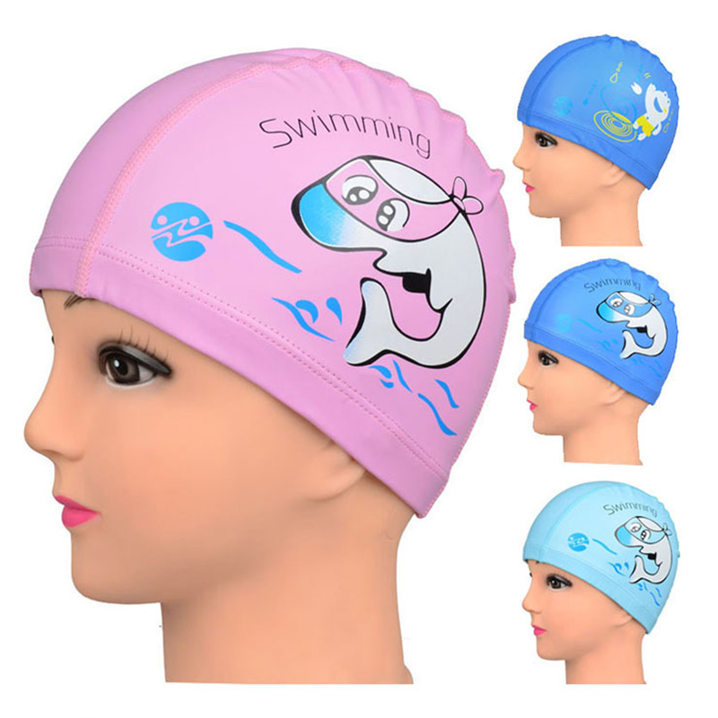 Hot sale PU Swimming Cap Children Cartoon dolphin Waterproof Ear plug Protect Diving hat Kids swim caps