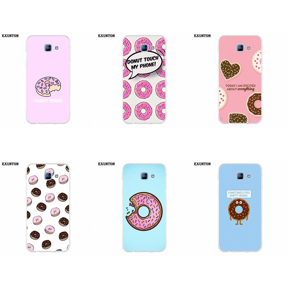 For Galaxy A3 A5 A7 A8 A9 A9S On5 On7 Plus Pro Star 2015 2016 2017 2018 TPU Cell Case Funny Donut Joke Unique Cute Sweet Retro image