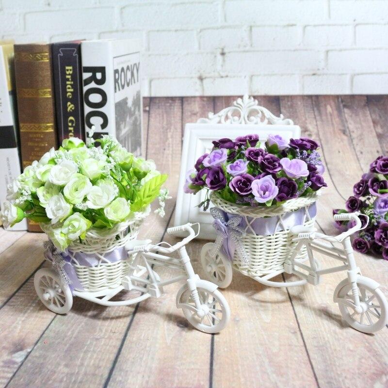 GLC 2017 мотоциклетные Дизайн трицикл белый цветок корзина DIY Пластик цветочных растений Свадебные контейнер для украшения дома