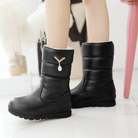 Female Pu Snow Boots Falt With Low Heel Mid Calf Boots Platform Crystal Slip On Winter Warm Plush Women Shoes Beige Black White