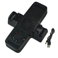 Hot- sale 285 x 195 x 55mm 3 in 1 Vertical Charging Dock Station Cooling Fan Stand With 51cm USB Cable For Xbox 360 Slim Console