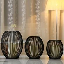 Современный металлический полый подсвечник, подсвечник, подвесной фонарь, домашний декор, подарки