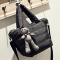 Winter Fashion Handbags for Women Black Dot Space Cotton Down Totes Satchels Oxford Shoulder Bag Bear Charm Cross body Bags Q057