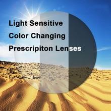 1.61 światłoczułe fotochromowe soczewki korekcyjne z pojedynczą wizją szybki i głęboki szary i brązowy efekt zmiany koloru