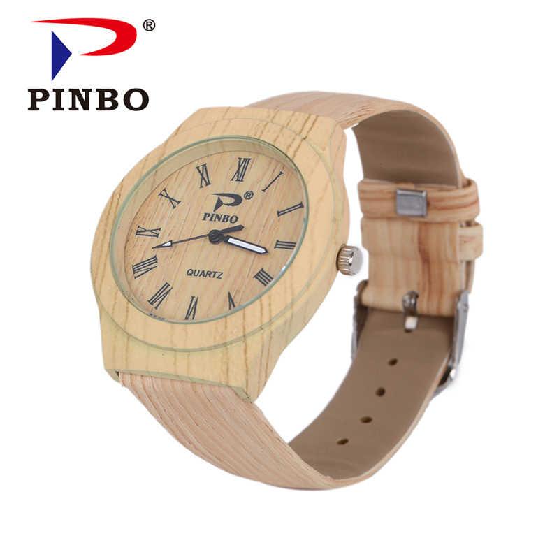 PINBO simulación reloj de pulsera de madera de cuarzo para hombre relojes casuales de cuero de Color de madera reloj de pulsera de madera para hombre