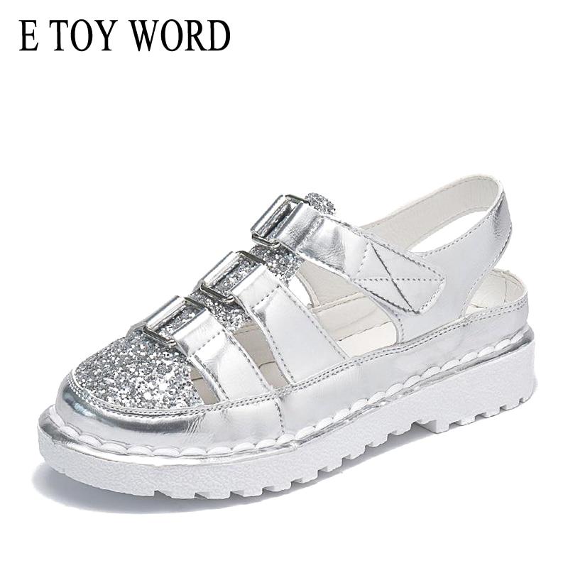 E TOY WORD Sandals Women 2019 Summer Ladies Shoes Korean Version Non-Slip Breathable Casual Shoes Hollow Out Women's Sandals