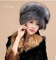 Верхний марка дизайн известный женщины женское подлинная лисий мех / енот мех бомбардировщик федора русский ушанка шляпы