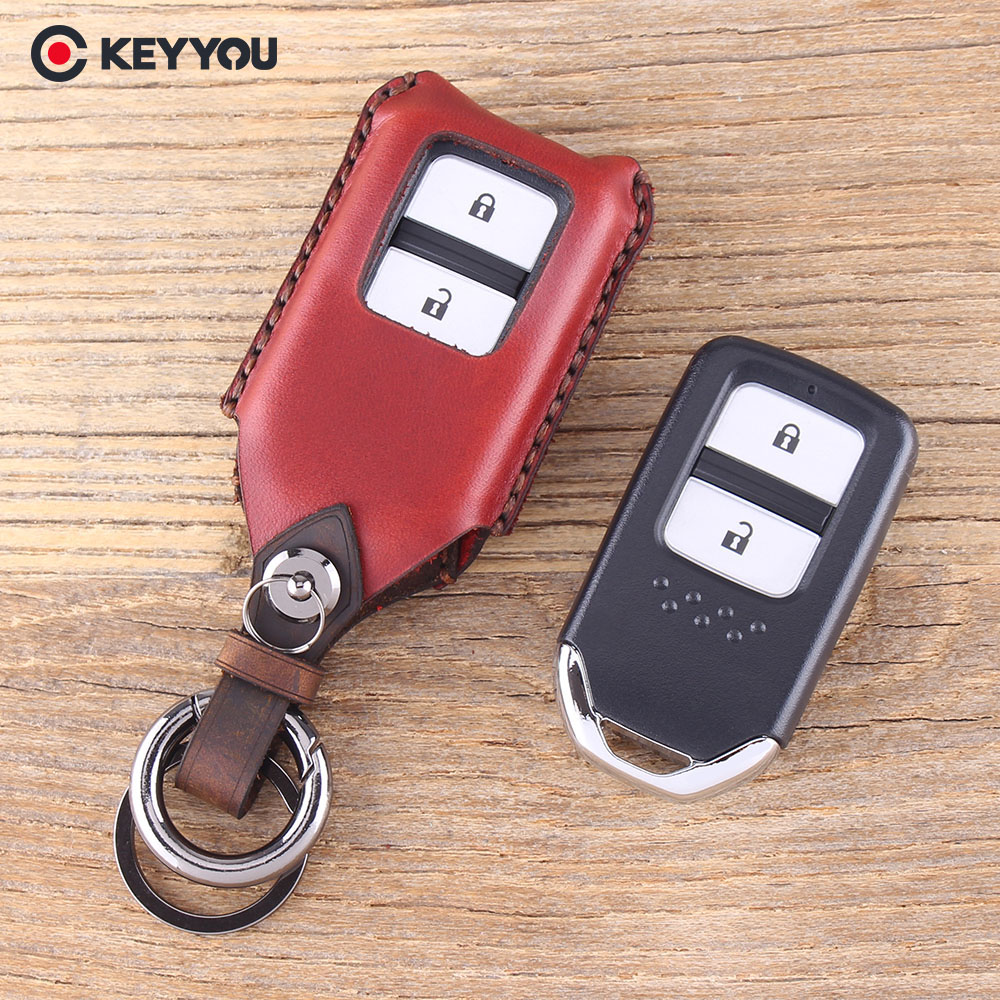 KEYYOU Genuine Leather 2 Button Remote Car Key Case For Honda HRV CRV XR-V CRIDER Accord SPIRIOR Pilot CIVIC Key Shell Cover carbon fiber leather car remote key case chain keyless fob cover for honda civic 2017 accord fit crv cr v xrv crosstour hrv jazz