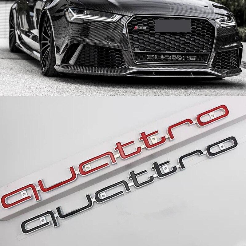 Alta calidad Quattro Logo emblema Badge coche palo ABS delantero parrilla inferior para Audi A4 A5 A6 A7 RS5 RS6 RS7 RS Q3