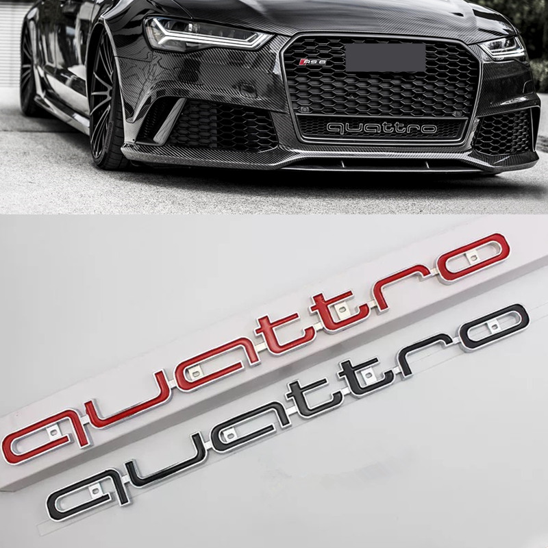 High quality Quattro Logo Emblem Badge Car Stick ABS Stickers front grill Lower trim For Audi A4 A5 A6 A7 RS5 RS6 RS7 RS Q3 1pcs 3d metal s5 car front grille adhesive emblem badge stickers accessories styling for audi a5 s5