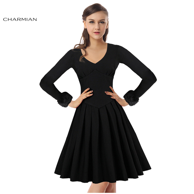 54567766430 Charmian Women New Fashion Winter Autumn Long Sleeves Black Pleated Vintage  Dress High Waist Slim Casual Party Dress Vestidos