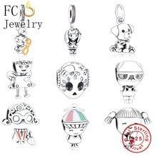 FC joyería Original pandora encantos pulsera 925 pulsera de plata esterlina de invierno lindo Mickey número de cuentas para hacer colgante Berloque