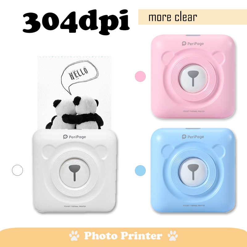 Bluetooth Portable Printer 304Dpi Resolusi Tinggi Peripage Foto Mini Printer Thermal Printer untuk Ponsel Android dan IOS