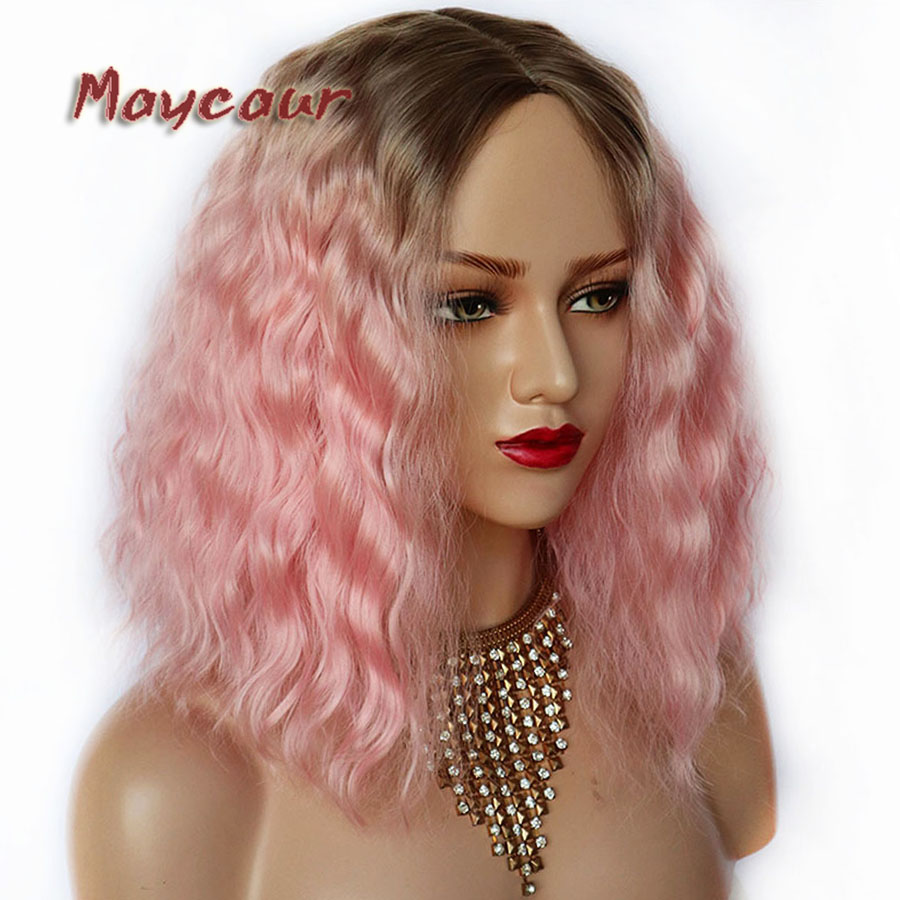 Maycaur Brown Ombre Purple Pink White 2 Tones Synthetic