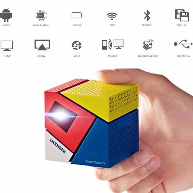 Nueva Llegada Inteligente Cubo P1 Andriod 4.4 WIFI Wireless 1080 P DLP Proyector Portátil LED HD Proyector de Cine En Casa con NOSOTROS enchufe