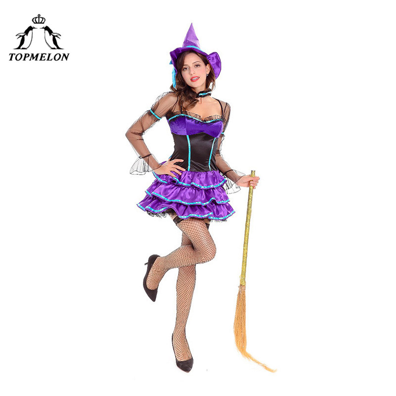 TOPMELON Sexy Witch Cosplay Uniform Women Halloween Holiday Shows Plays Purple Costume Set Tulle Long Sleeve Mini Dress with Hat