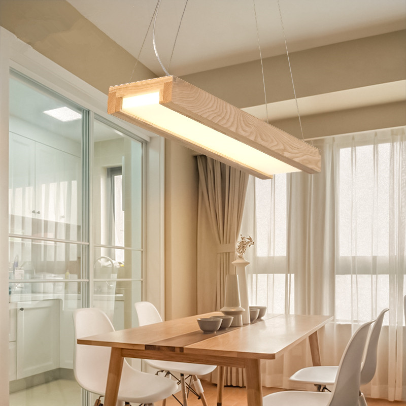 Japanese Modern Simple LED Chandeliers Solid Wood Lamps Creative Personality Dining Room Living Free