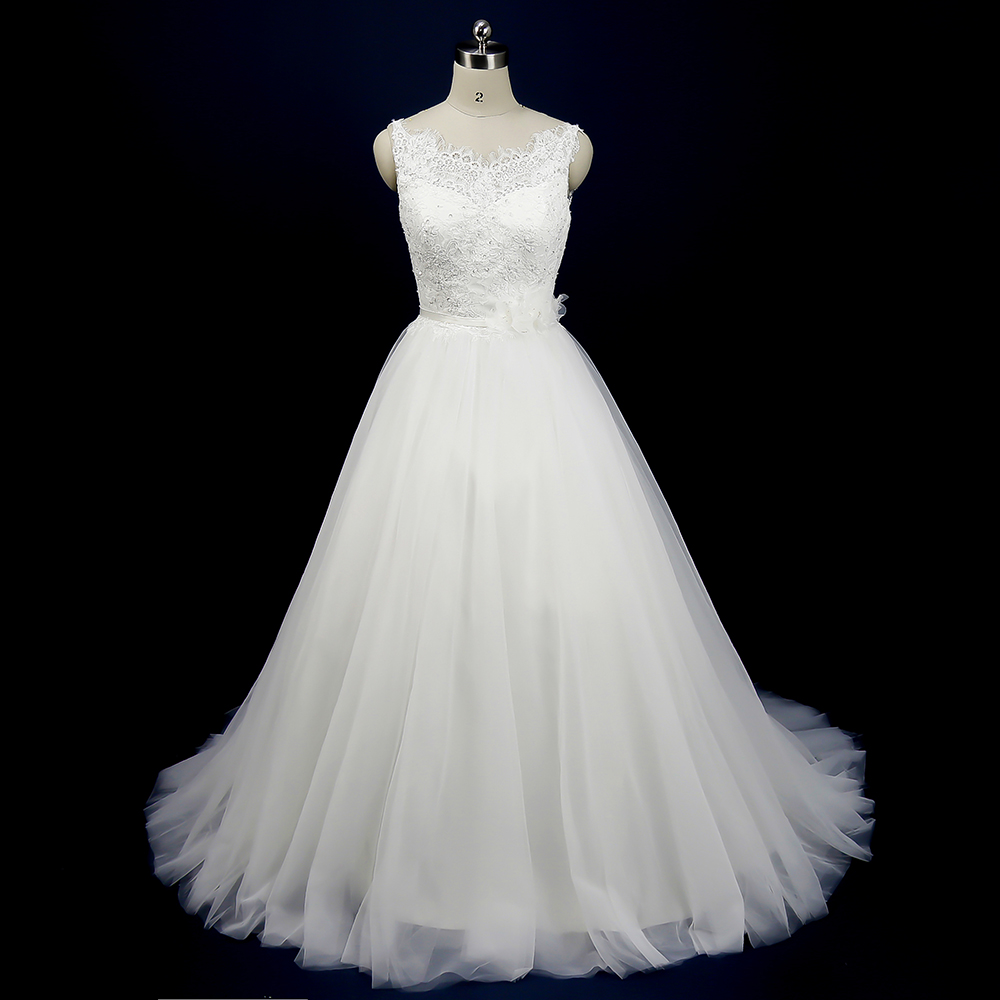 Aliexpress Com Buy Simple Elegant See Through Lace Part: Elegant Off White Lace Bride Dresses Real Photo A Line