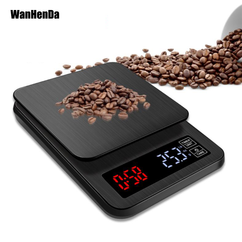 3kg/0.1g LCD Digital Weight Coffee Scales Portable Mini Balance Electronic Timer Kitchen Coffee Food Scale Black