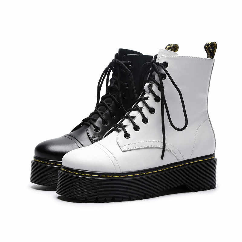 87a89c402f66 ... real leather dr martins boots women lace up white D Martens boots  platforms fall winter shoes ...