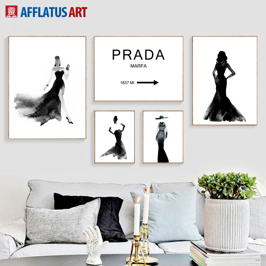 AFFLATUS Prada Girl Nordic Poster Wall Art Posters And Prints Canvas Painting Black White Wall Pictures For Living Room Decor