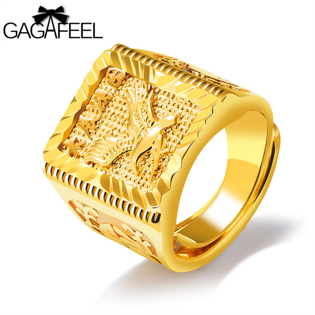 GAGAFEEL Eagle Wings Ring Free Size Men Jewelry Gold Color Open ...