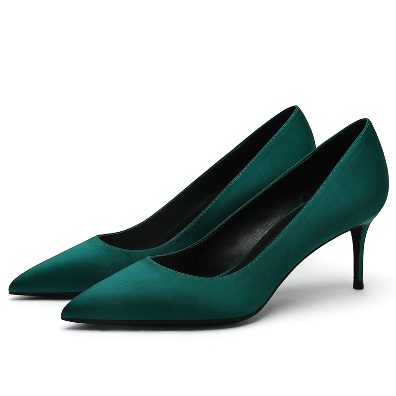 Elegant Lady Pumps High Quality Silk Pointed Toe 6CM/8CM/10CM High Thin Heels Classic Party Office Dress Women Shoes Green E0041