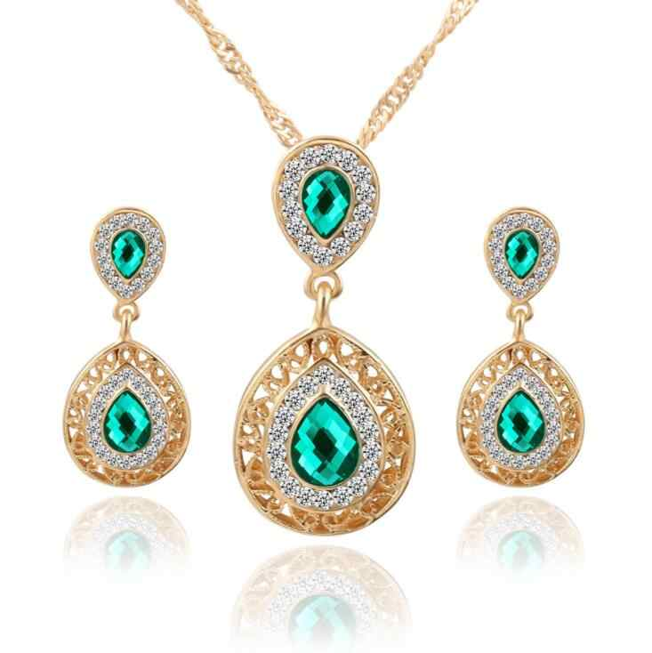 Jewelry Sets Double Water Drop Crystal Earrings Gold Color Rhinestone Pendant Necklaces For Women Engagement Bridal Wedding Set