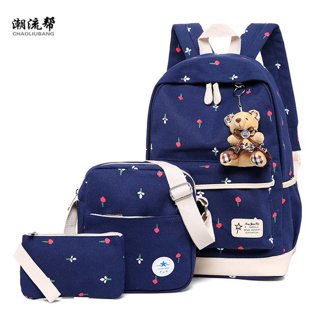 3 Pcs Set Ladies Backpack Canvas Print Student Bag Teen Girl