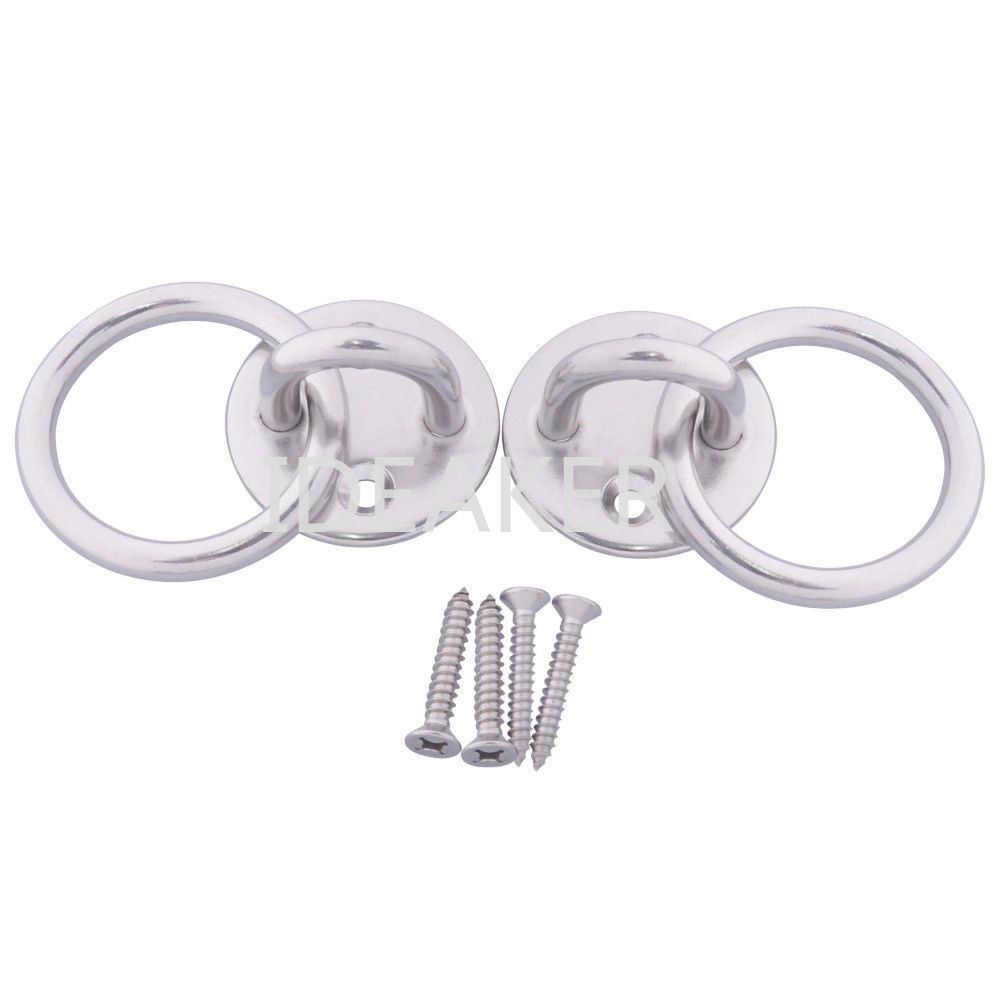 2PCS Stainless Steel M6 Round Sail Shade Pad Eye Plate U-shaped Hook Ring Welded