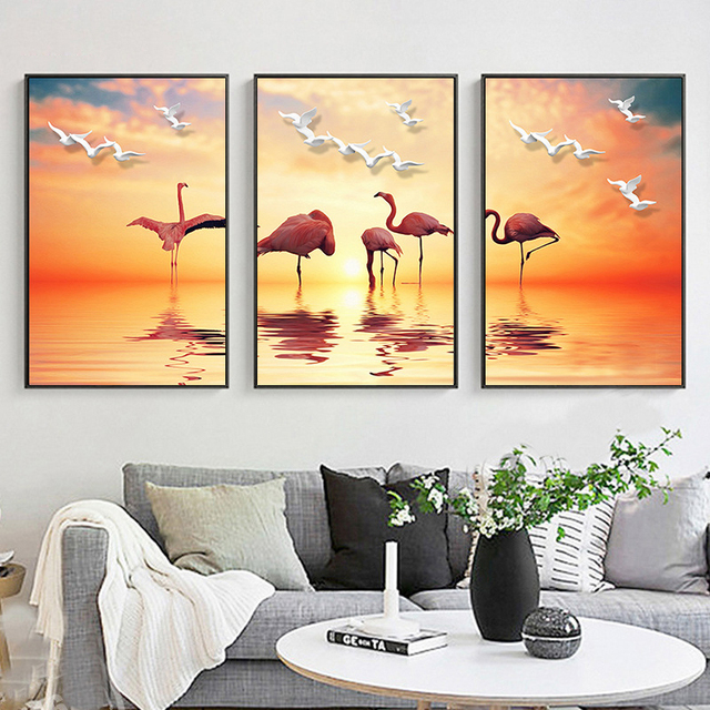 HAOCHU Modern Splendid Landscape Gold Sunset Flamingo Lake Canvas ...
