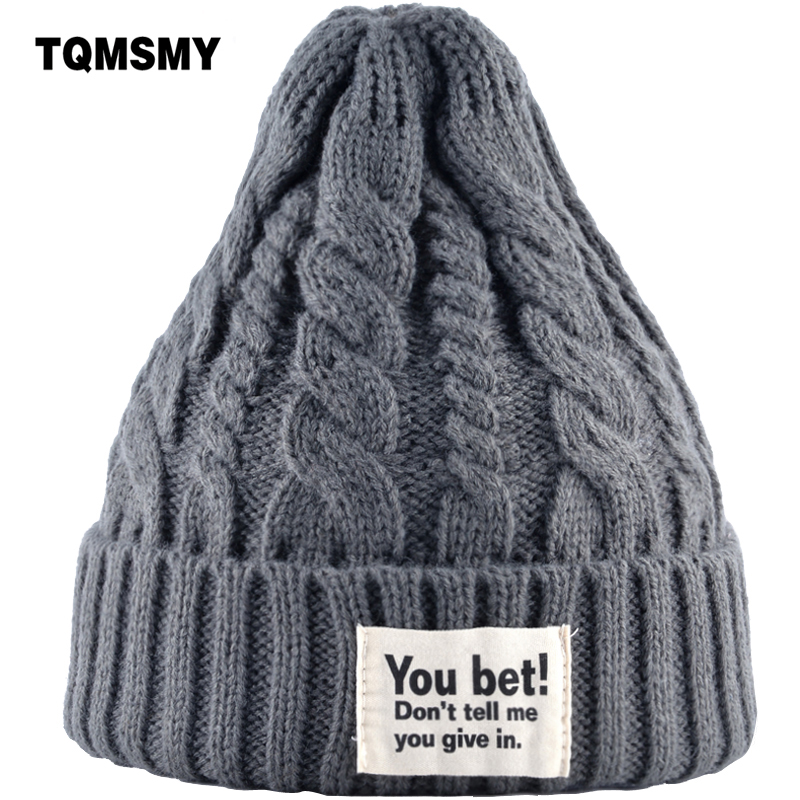 TQMSMY Men and Women's Hats Winter Knitted Beanies Cap Funny Letter YOU BET Unisex Labeling woolen beanie skullies hat Cap TMD23 unisex letter dragon winter hats skullies beanies men woman beanie knitting hat knitted cap new design invierno bonnets gorros