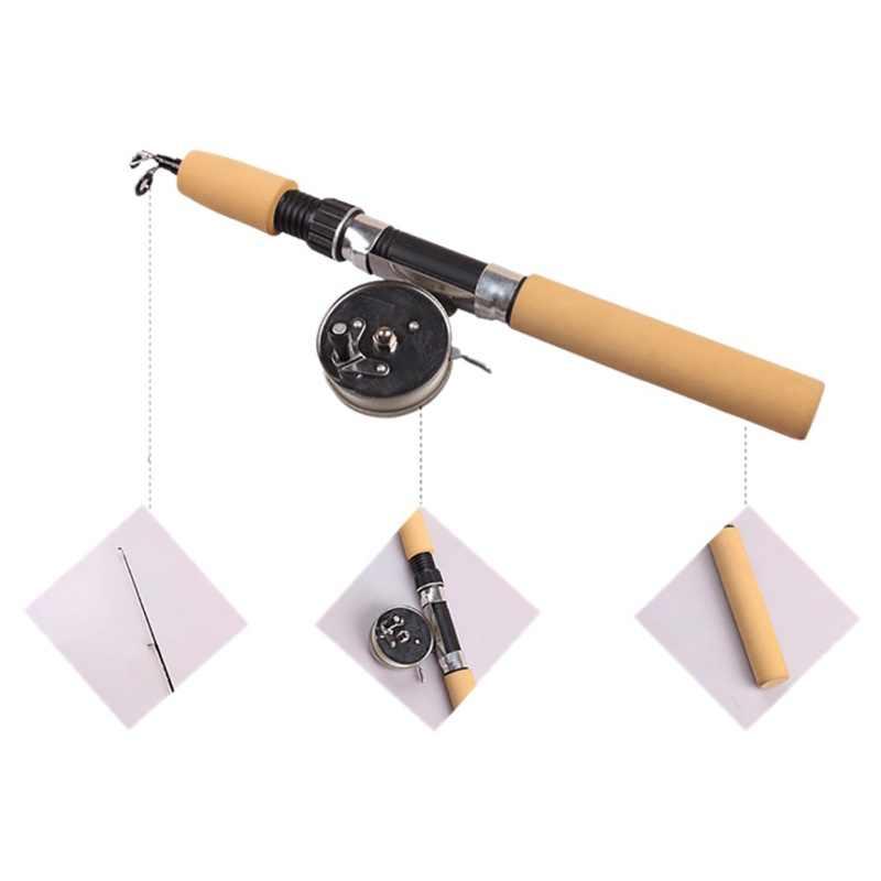 Winter Hengels Mini Ijs Hengel Metalen Vissen Rollen Elastische Carbon Bait Casting Rod Anti Slip Hout Kleur Handvat