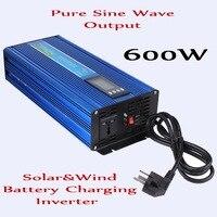 600 Вт преобразователь вне сети 12 В/24 В постоянного тока до AC110V/220 В чистый синусоидальный инвертор с AC Батарея зарядки Функция, surge Мощность 1200