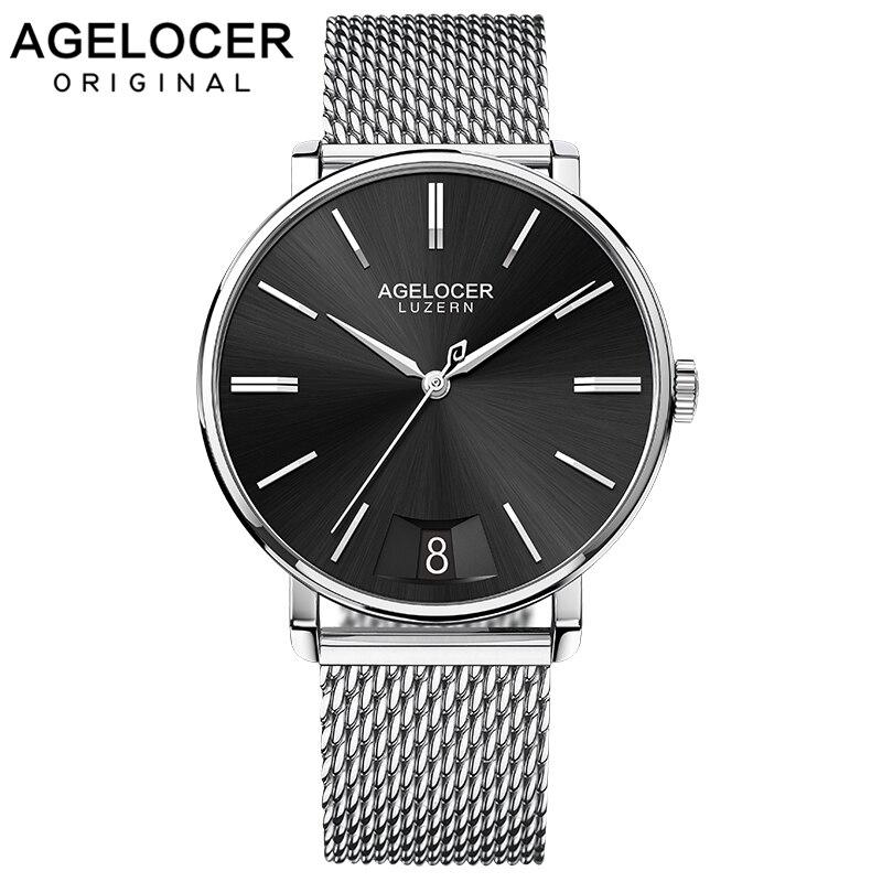AGELOCER Maille En Acier Inoxydable Bracelet Suisse Mouvement À Quartz Étanche Montres Hommes Saphir Horloge Mâle Montre De Luxe 40mm