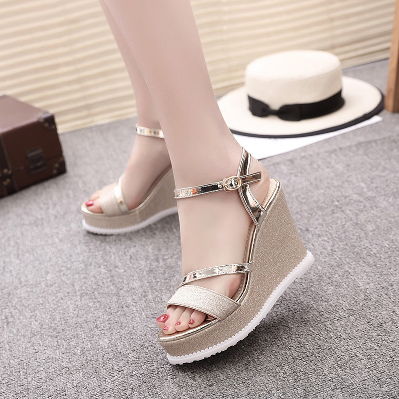 Platform Sandals Shoes Wedge-Heels Sequined Gold Silver Sexy Peep-Toe Summer Women Patent