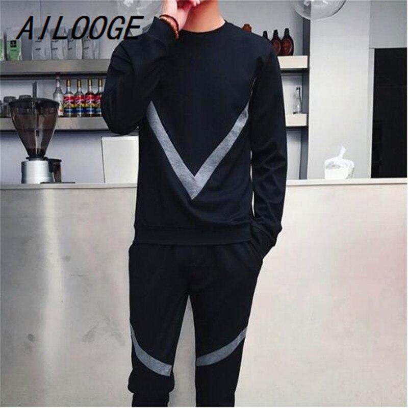 AILOOGE 5XL décontracté sport costume hommes grand V imprimé automne grande taille survêtement piste bretelles cachées noir hommes sweat costumes ensemble