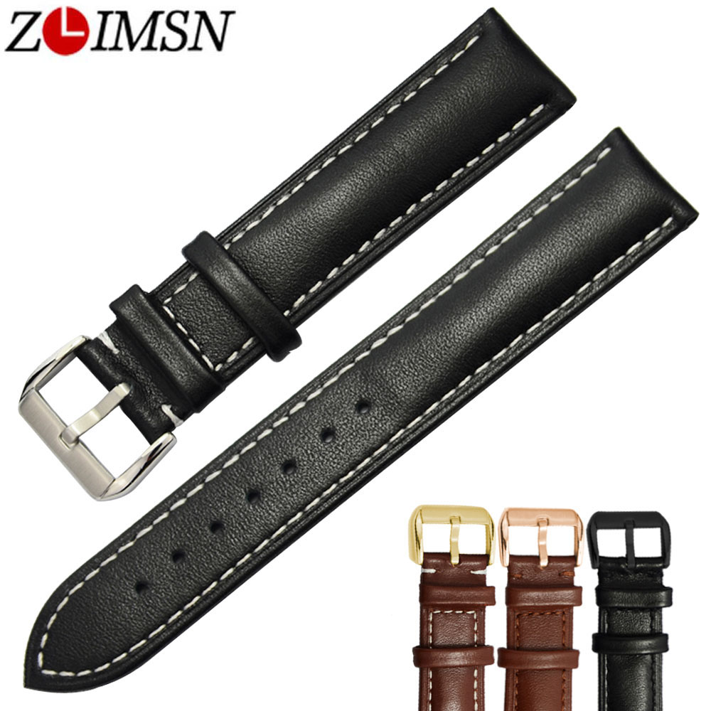 ZLIMSN Genuine Leather Watch Bands Black Brown Replacement Straps 18 20 22 24mm Watchband Men Women 316L Stainless Steel Buckle