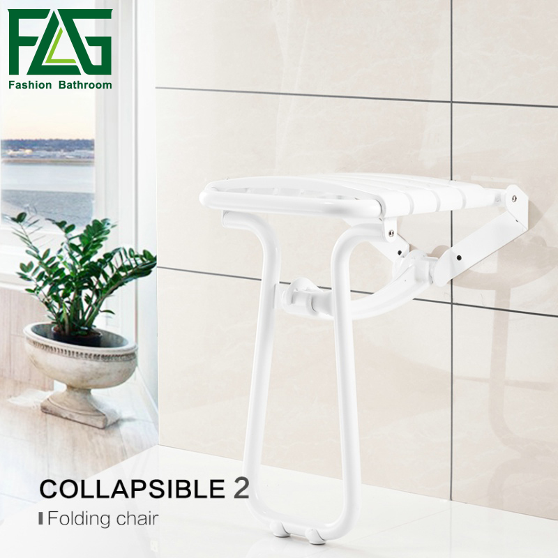 FLG Wall Mounted Shower Seats With Legs WaterProof Relaxation Shower Chair Fold Up Bath Shower Seat G202-28W цены