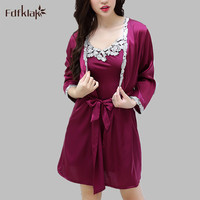 Women Silk Lace Robe Set Thin Ladies Summer Robes Sexy Dressing Gowns For Women Bathrobes Sleepwear