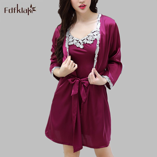 Silk Dressing Gowns Ladies: Women Silk Lace Robe Set Thin Ladies Summer Robes Sexy