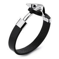 LINSOIR 2017 New Punk Black Leather Anchor Bracelets Bangles For Men Stainless Steel Tom Hope Anchor