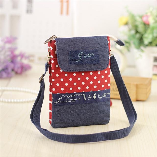 Women Mini Bags Canvas Dot Shoulder Female Clutch Messenger Kids S Purse Wallet Pouch