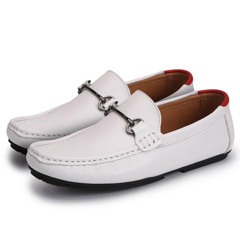 fd32e16e7b Moda Homem white amp  Casuais Sapato Nova Sapatos Flats Blue Os Black  Mocassins De Couro blue Dos Condução Genuíno Masculinos White Sobre Homens  ...