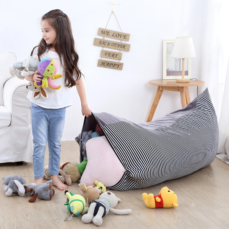 Foldable Storage Bags Clothing & Wardrobe Storage Lovely Stuffed Animal Doll Storage Bean Bag Chair Extra Large Pouch Stripe Chair Sofa Storage